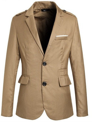 Casual Blazer with Buttons on the Shoulders - Style Flyer - in Khaki, Blue and Black