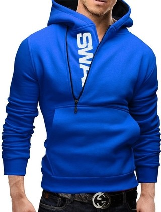 Sport Fashion Coat with Hood - Modern Closure - Blue