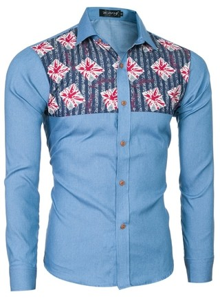 Informal and Modern Shirt with Details - Jeans Style - in Light Blue and Dark Blue
