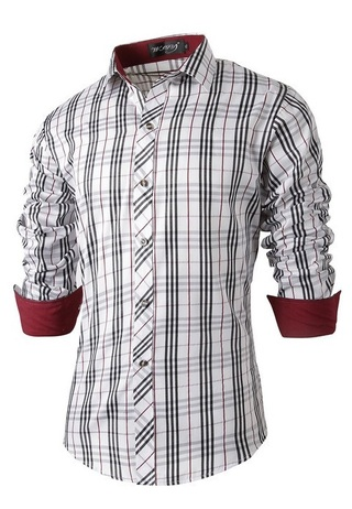 Fashion Casual Shirt - Light Checked - White