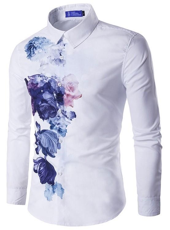 Camisa Fashion New Style - Estampado Floral Artístico y Clásico - en Blanco y Azul Claro