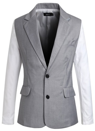 Blazer Vest Style - Sleeves Contrast Color - in Gray and Blue