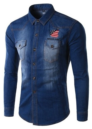 Jeans Shirt Modern and Youth with American Stamping - Mandarin Neck