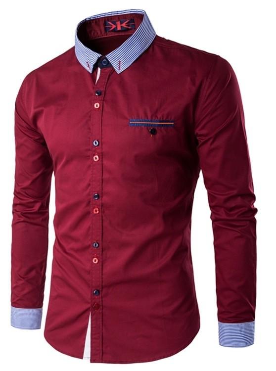 camisa moderna jovem para o escritório gola e mangas listradas