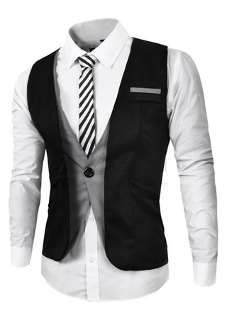 Stylish Vest Two Color A Button - Fashion Style - Black