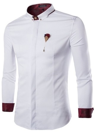 Mandarin Neck Shirt Fashion Casual - Elegant Details - in White, Blue and Black