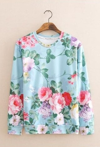 Sweater Femenino Fashion - Floral - Azul