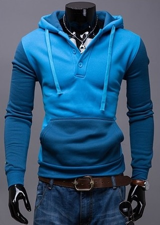 Slim Fit Sport Coat with Hood and Front Pocket - Two Colors - Blue