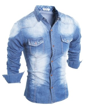 Youth Casual Jeans Shirt - with Flower and Stars Details - in Light Blue and Dark Blue