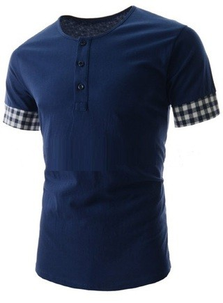 Fashion Short-Sleeved shirt - Detail Checkered Sleeves - in Blue, White and Black
