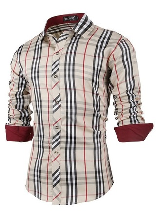 Fashion Casual Shirt - Light Checked - Beige