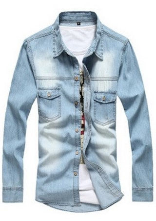 Jean Fashion Shirt - with Pockets - in Light Blue and Dark Blue