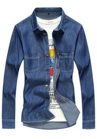 Jean Fashion Shirt - with Processes - in Dark Blue and Light Blue