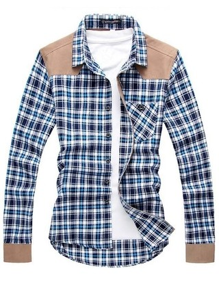 Casual Fashion Checkered Shirt - Cowboy Modern Style - in Blue and Red