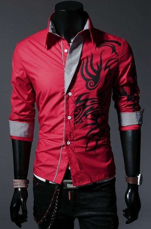 49a70c9169cc8 Camisa Casual Moderna com Desenhos Tribais - Vermelha
