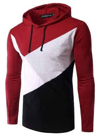 Coat Sport Fashion Multicolor with Hood - in Red and Black