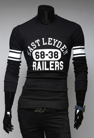 Printed Long Sleeve Shirt from - in Black, Gray and Blue