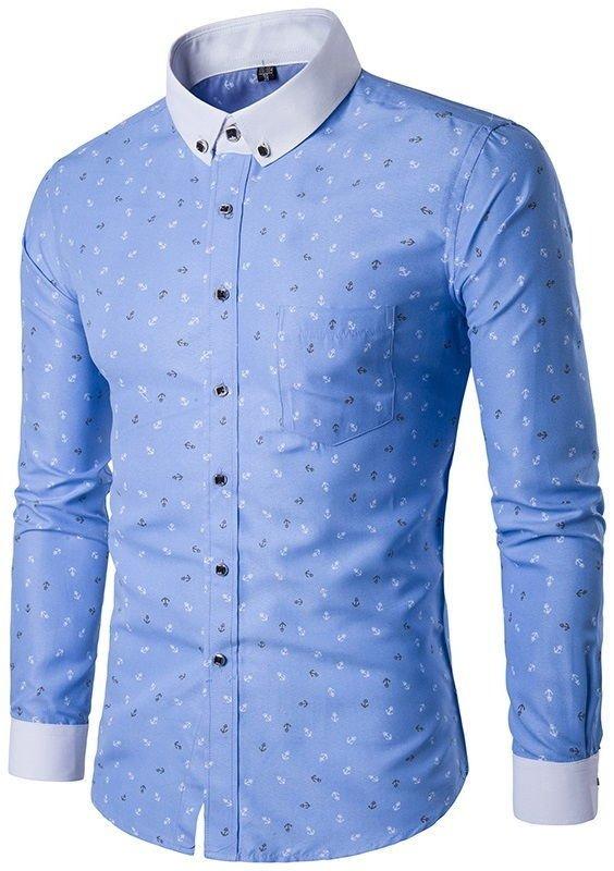 camisa social fashion desenho de ancoras tons claros em azul