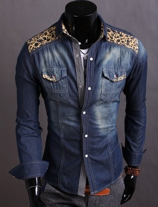 Youth Casual Jeans Shirt - with Floral Details - in Dark Blue and Light Blue