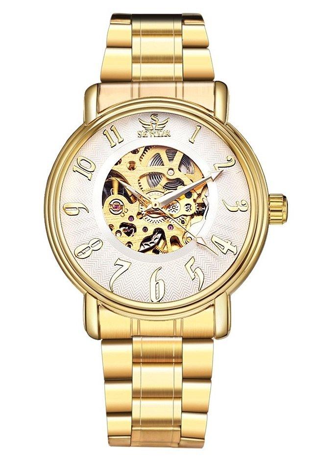 Reloj Sewor Elegante Dorado Diseño Mecánico - en Blanco, Negro y Dorado