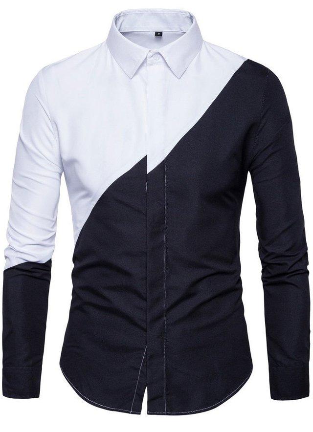 camisa em dos cores fashion desenho original em branco e preto