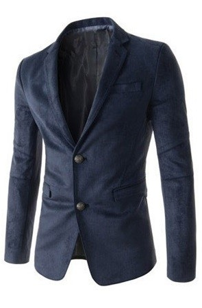 Classic Modern Blazer in Suede - Two Buttons - in Blue, Khaki and Black