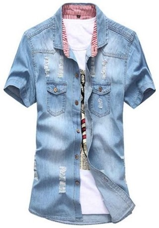 Jean Shirt Fashion Short Sleeve - wiht Processes - in Light Blue and Dark Blue