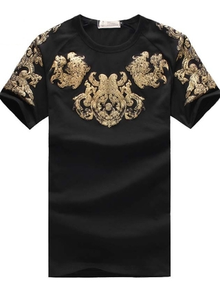 Fashion Short Sleeve T-Shirt - Details Embossed Gold - in Black, White and Dark Blue