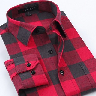 Checkered Shirt Plus Size Modern - Style Woodman - Red / Black