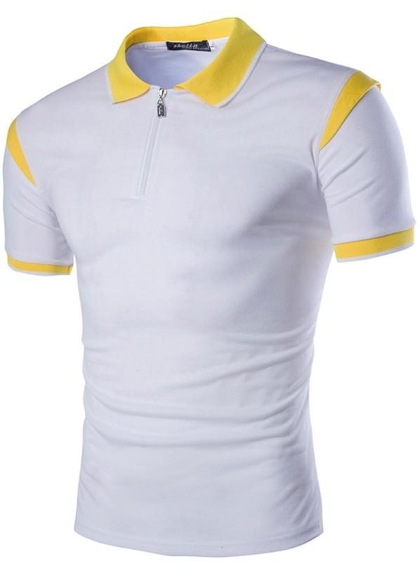 Camisa Polo Slim Fit Blanca Con Detalle En Los Hombros