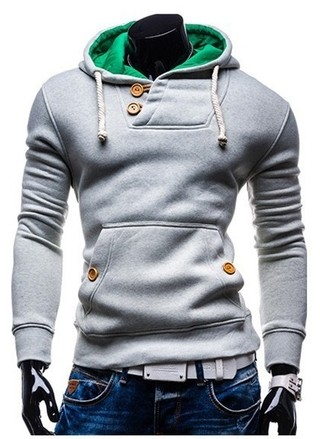 Fashion Coat and Pocket with Details Gray Front - Green Hood