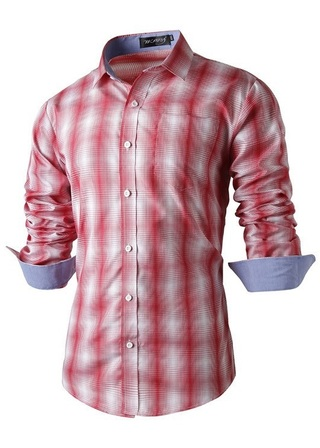 Modern Fashion Casual Shirt Checked in Degrade - in Red, BLack and Blue