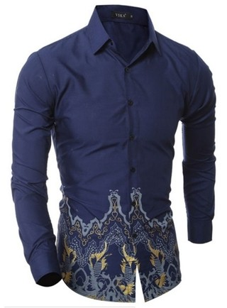 Solid Fashion Casual Shirt - Floral Design at Waist - in Dark Blue and Wine