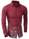 Solid Fashion Casual Shirt - Floral Design at Waist - in Dark Blue and Wine - buy online