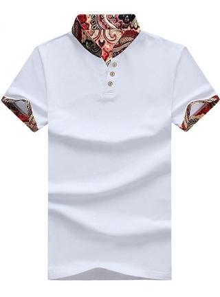 Polo Shirt Fashion New Edition - Floral Mandarin Neck - in White, Dark Blue and Black