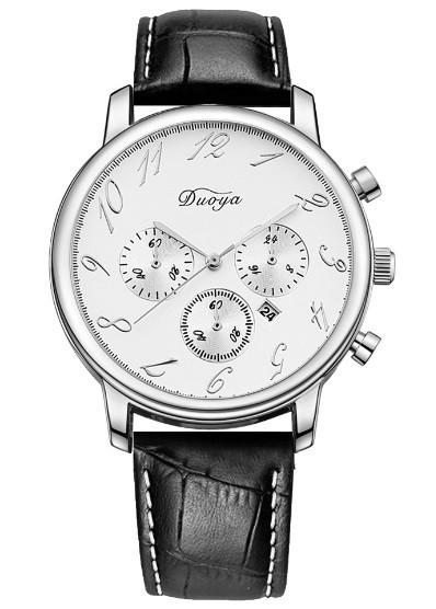 Reloj Clásico de Cuarzo Douya Bisel Plateado - en Blanco, Negro y Marrón