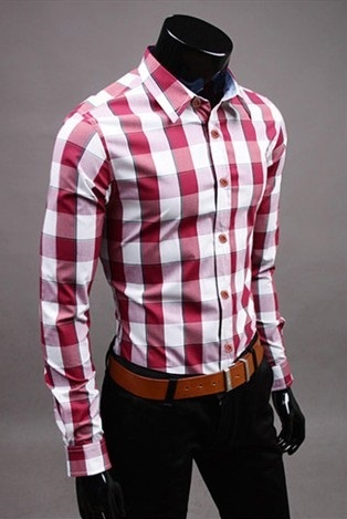 Checked Shirt Style Social English - Red / White / Pink
