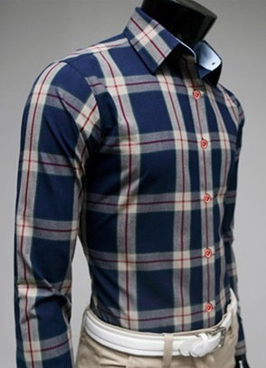Checked Shirt Style Social English - Blue / Beige