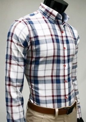 Checked Shirt Style Social English - White / Blue