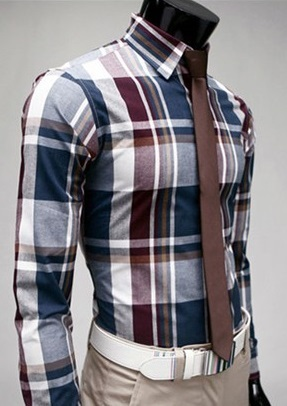 Checked Shirt Style Social English - White / Blue / Brown