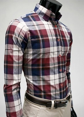 Checked Shirt Style Social English - White / Blue / Red
