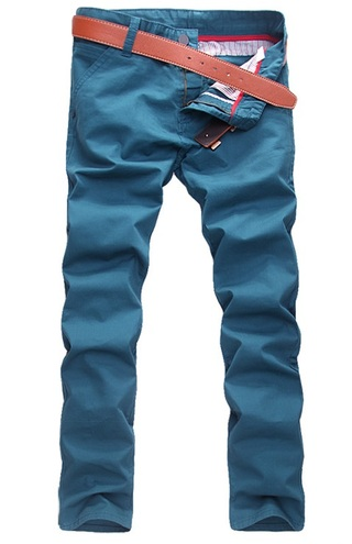 Modern Casual Pants Straight - in Cotton - Blue