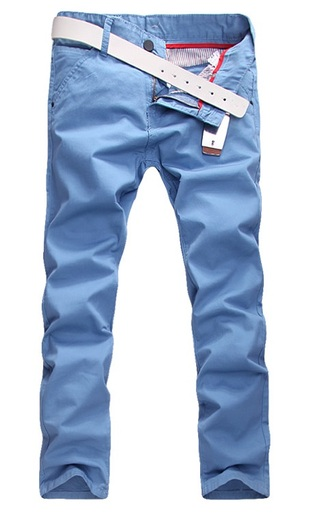 Modern Casual Pants Straight - in Cotton - Sky Blue