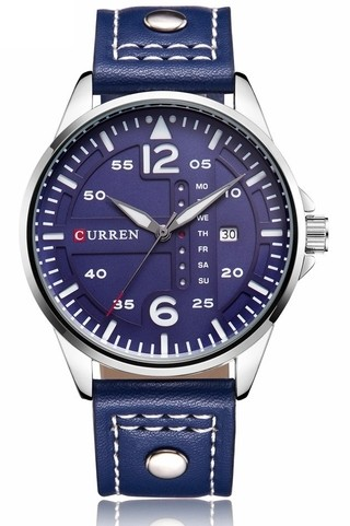 CURREN 8224 Casual Watch with Calendar - in Blue and Orange