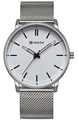 Elegant and Sophisticated Watch CURREN 8233 Silver - Bracelet Type Mesh - in White and Blue