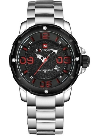 Fashion Watch NAVIFORCE 9078 Military Style - Silver - in Red and Gray