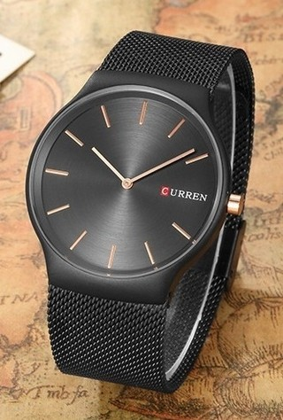 Luxury Fashion Watch CURREN 8256 Black - Bracelet Type Mesh - in Black and Gold
