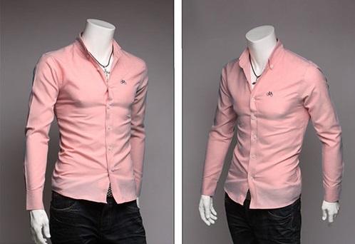 Camisa Casual Deportiva Con cuello Americano - Rosada  (MH6314)
