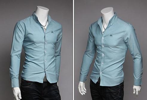 Camisa Casual Deportiva Con cuello Americano - Verde / Gris  (MH6314)