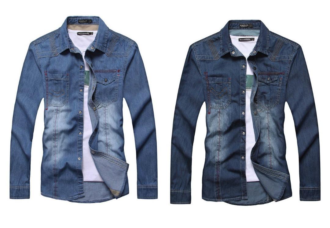 Camisa Casual Jeans de Manga Larga - Detalles en los Bolsillos y Hombros (ST188)